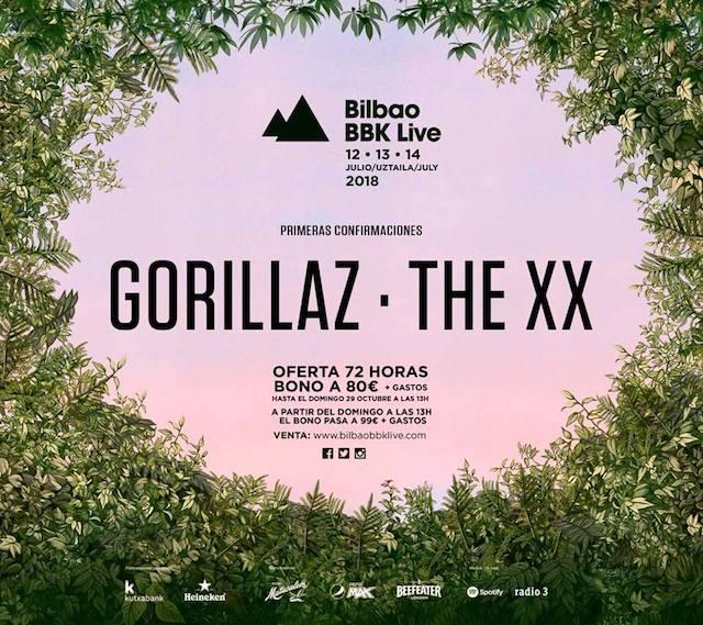 Gorillaz y The XX son los primeros nombres de Bilbao BBK Live2018